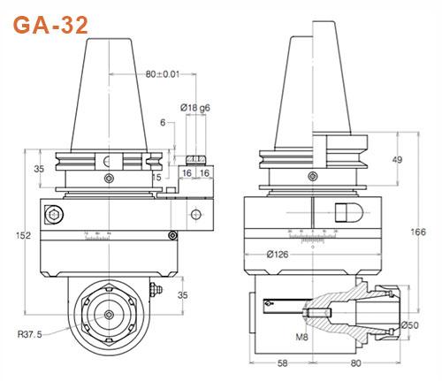Winkelkopf GA-32 SK50 Gisstec