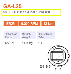 Winkelkopf GA-L25 SK50 Gisstec