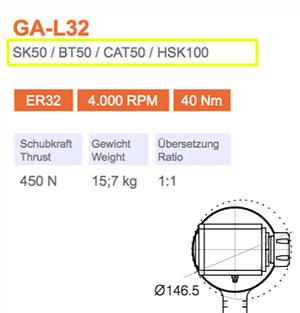 Winkelkopf GA-L32 SK50 Gisstec