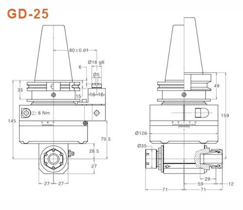 Winkelkopf GD-25 SK50 Gisstec