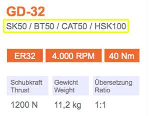 Winkelkopf GD-32 SK50 Gisstec